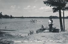 RPPC Postcard CLEAR LAKE West Branch Michigan M1567 L.L. Cook Swimming Boating