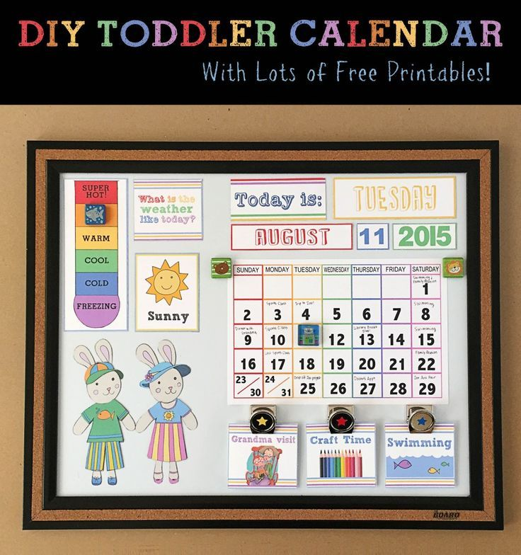 DIY Toddler Calendar with DIY magnets to help teach your toddler about the weather and days of the week. Free printables + awesome tutorial.