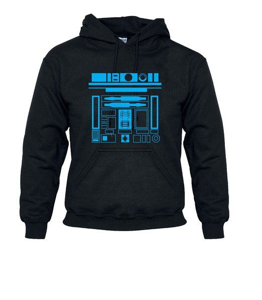 "R2-D2 STAR WARS VINTAGE DROID HOODED TOP (Large 42-44"", Black/Blue)"
