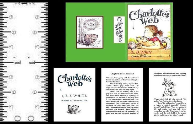 1:12 SCALE MINIATURE BOOK CHARLOTTE'S WEB ILLUSTRATED E.B. WHITE #LeeAnnBorgiaMiniatureBooks