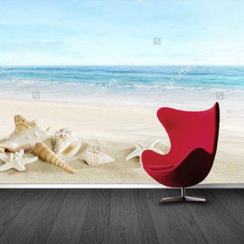 Fotobehang Schelpen op het strand | Maak het jezelf eenvoudig en bestel fotobehang voorzien van een lijmlaag bij YouPri om zo gemakkelijk jouw woonruimte een nieuwe stijl te geven. Voor het behangen heb je alleen water nodig!   #behang #fotobehang #print #opdruk #afbeelding #diy #behangen #strand #schelpen #zee #schelp #zeester #oceaan