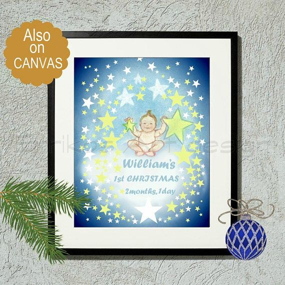 Baby's First Christmas Personalized Art Print Custom