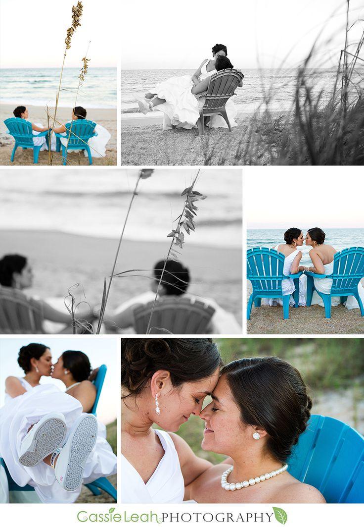 Beautiful Lesbian Brides #lesbian #beach #wedding #love