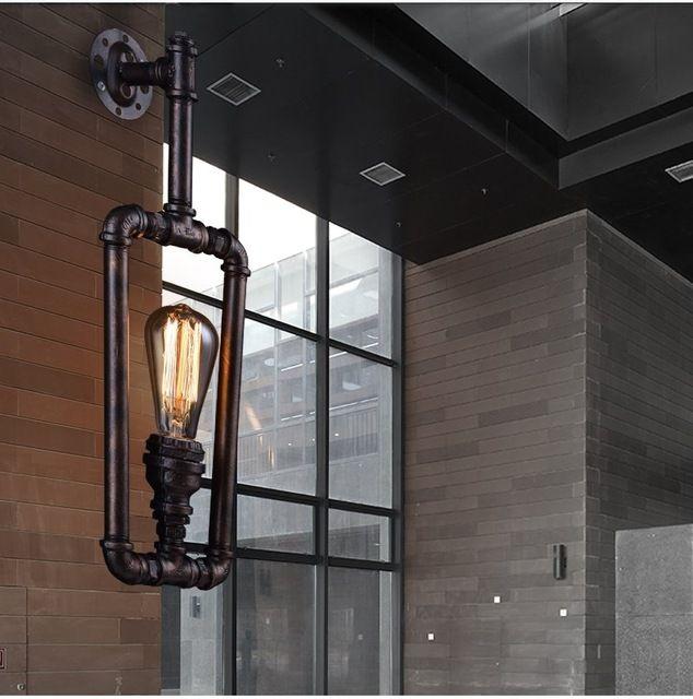 Luces de pared de la vendimia americana de la vendimia luces Lámpara de Pared de la Tubería De Agua Desván Lámpara de Hierro Lámpara de Pared del Pasillo de la vendimia E27 Edison Luz bombilla