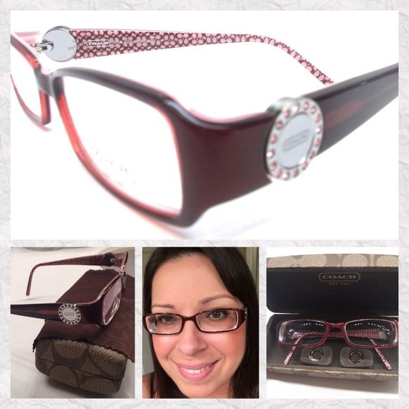 Coach Glasses Frames Rosa model 583 Burgundy Coach Glasses Frames - Rosa model 583 - Burgundy - 135mm - interchangeable coins included- case and cleaning cloth included. Take to eye doctor and put in your own lenses. Hardly used! I prefer contacts. They have my prescription. Near sighted around -8.0. Offers considered!  Coach Accessories Glasses