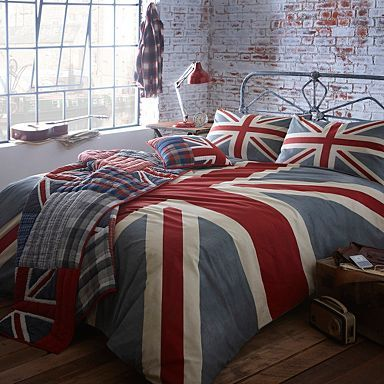 Grey 'Vintage Union Jack' bed linen - Duvet covers-LOVE!!  Too bad they don't have the Super King size duvet that would fit US duvet King.  Grr..