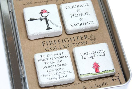 Firefighter Gift. Rustic Refrigerator by blessingandlight on Etsy