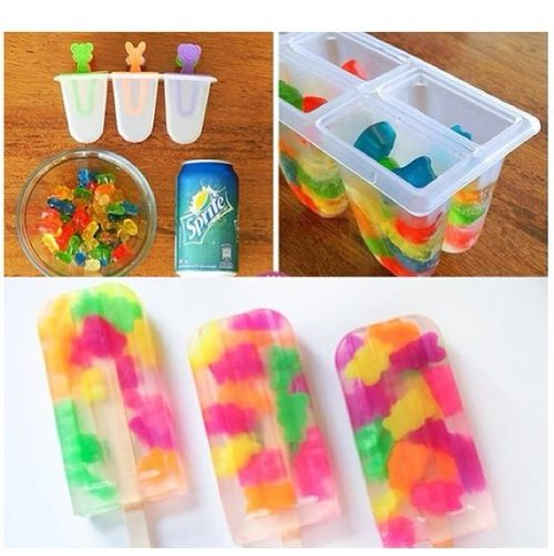 Homemade gummy bear and sprite popsicles