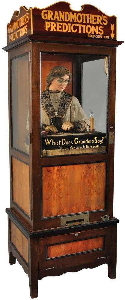 """Grandmother's Predictions"" fortune telling machine, circa 1930.  Originally made 1929-1932 by William Gent Vending Company. Many reproductions of this style fortune teller have been available since the 1970s."