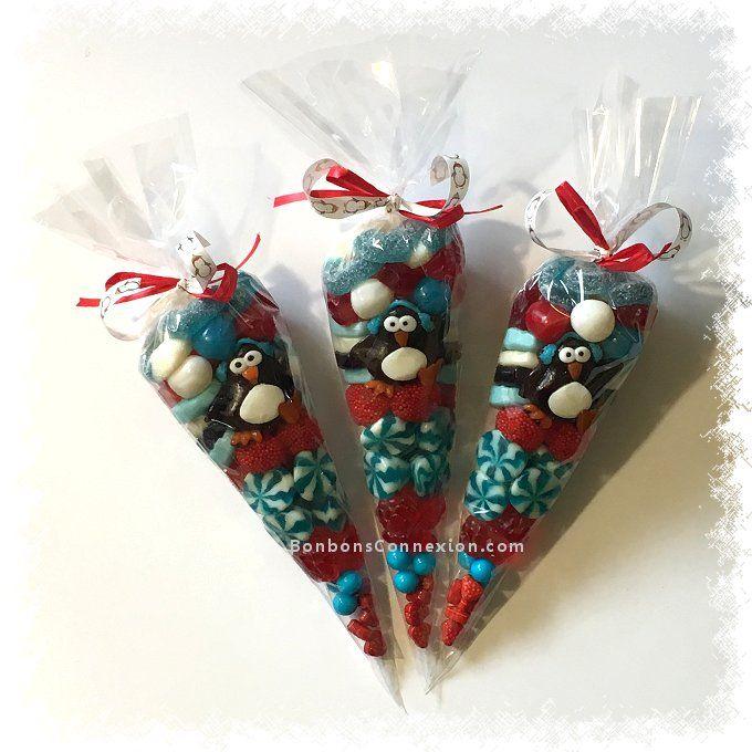 Delightful Christmas candy cones - Délicieux cornets de bonbons de Noël. #ChristmasCandyGifts #CadeauBonbonsNoel