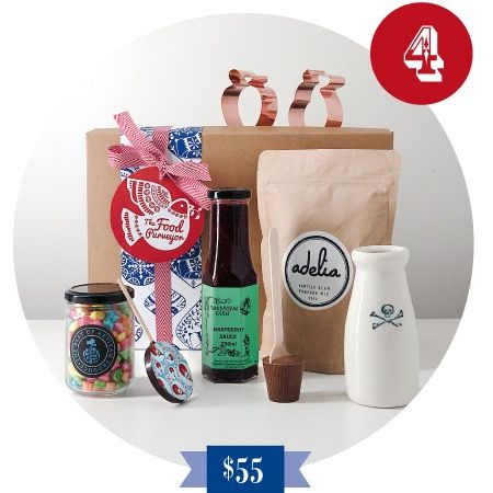 4 Calling Birds Christmas Hamper All boys will love this box of treats. A Milk Bottle hand-made in Australia with either a 'Skull & Cross Bones' or an 'Anchor', Chocolate Lollipop, Hot Chocolate Spoon, Raspberry Sauce to pour over your Pancake Mix, 2 Copper Cookie Cutters and a jar of delicious lollies!  All wrapped in a perfect Swashbuckling box!!