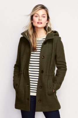 Women's Boiled Wool Hooded Parka from Lands' End. Pros: great color, wool, more dressy, lined hood, feminine shaping, mid-thigh length. Cons: could be warmer (10 to 30 degrees).