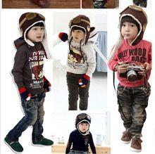Free Shipping Popular children s cap Air Force aircraft pilots warm cap kids accessories autumn winter