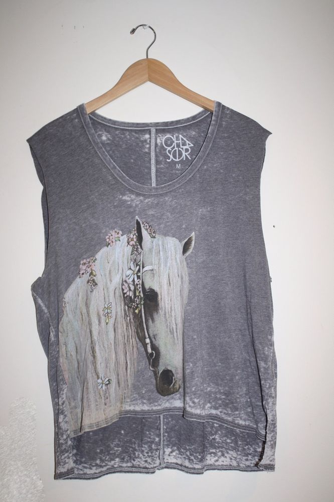 Chaser LA Horse Cut Off Sleeve Tee Tank Top Medium Vintage Wash New $68  #Chaser #GraphicTee