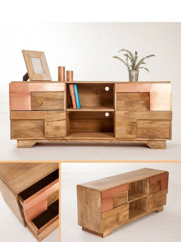 Meuble TV bois & cuivre  http://www.homelisty.com/sweet-mango-meubles-cuivre-bois/