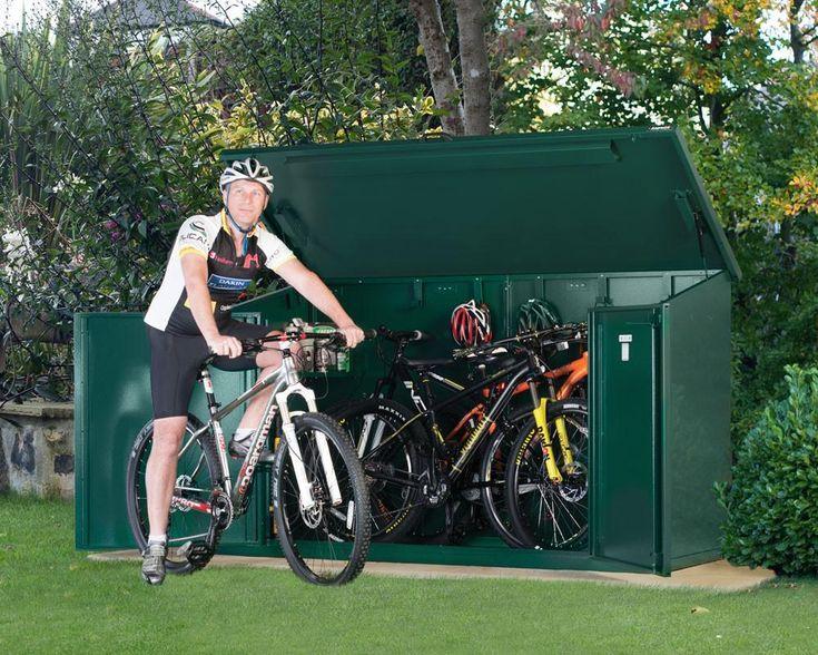 Bike Storage Shed Asgard Access Plus 29ers Store 4 Bikes Metal Green Ivory Brown
