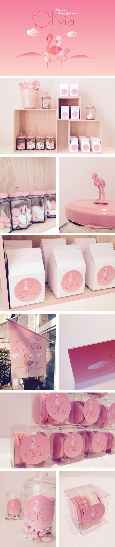 Geboortekaartje Olivia www.mosstudio.be flamingo, roos, meisje, pink, doopsuiker
