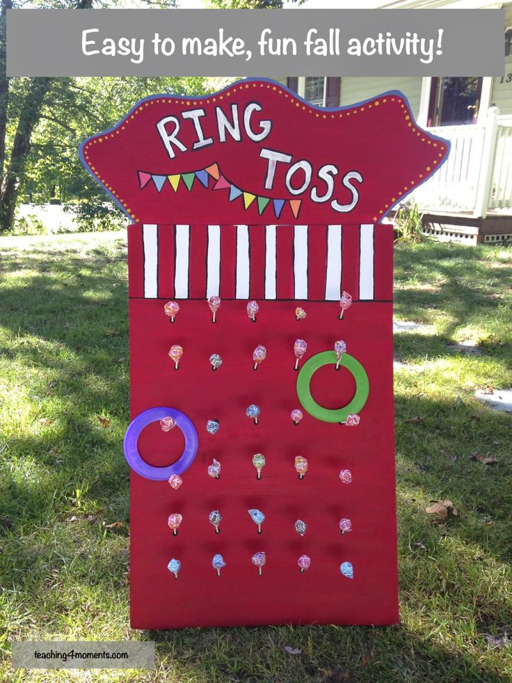 Easy to make, Ring Toss Game for your next fall activity with kids!