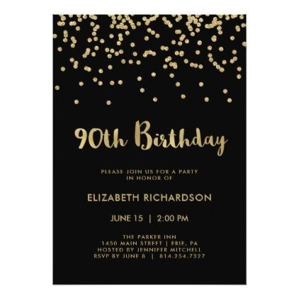 #trendy - #Faux Gold Confetti on Black | 90th Birthday Party Card