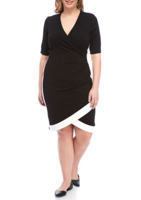 Almost Famous Girls' Plus Size Framed Wrap Colorblock Dress - Black / White - 1X