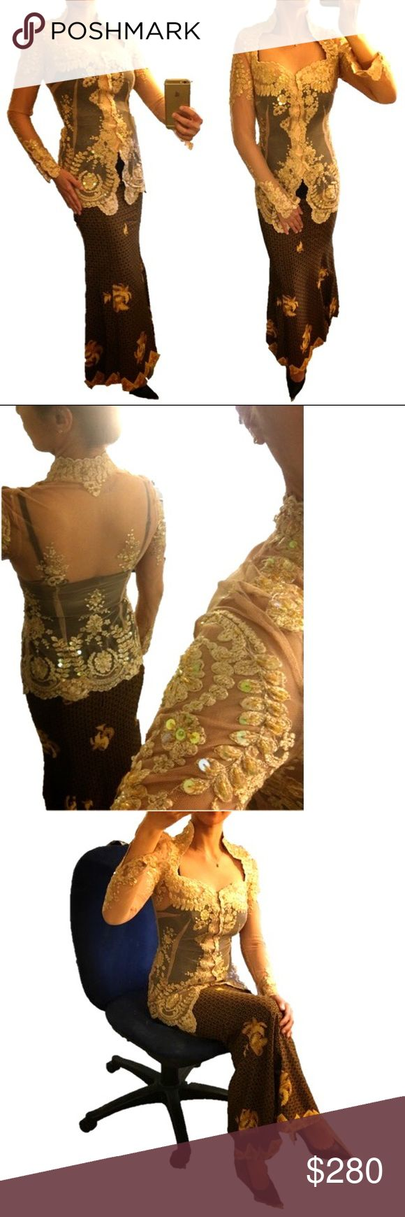 Indonesian Modern Kebaya Top Beaded Party Gown Tanned Bridal Tulle Modern Kebaya Top Beaded Party Gown Long Sleeve  Pre-Loved  Color: Tanned  Size: XS  Height: 152cm  Shoulder wide: 40cm Bust: 83cm  Hips: 86cm   A Set Of Beaded Tulle Modern Kebaya Top With Batik Long Mermaid Silk Skirt  This Gown will WOW everyone in any occasion. Dresses Long Sleeve