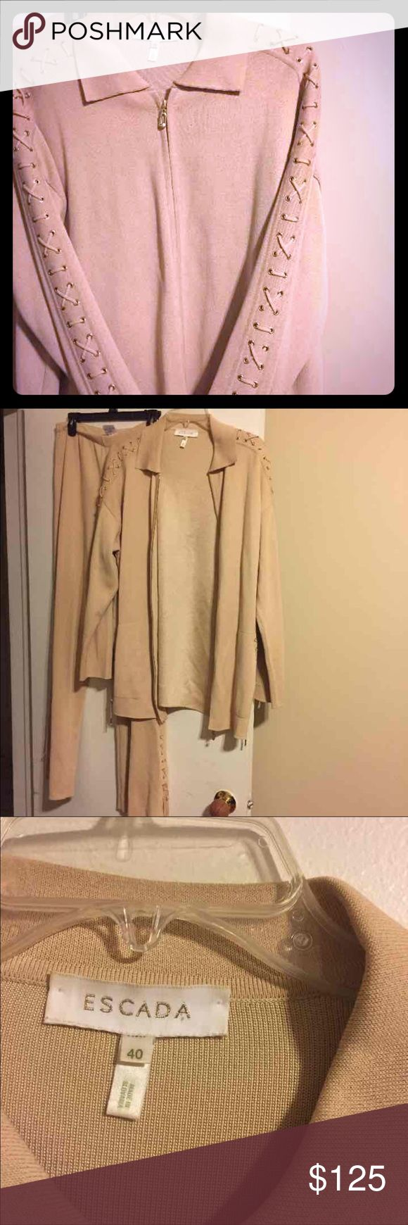 Escada two piece set in neutral color size 40 Escada two piece set in neutral color size 40. Great for so many occasions. Can be dressed up or down perfect for graduation or showers. Escada Pants Trousers