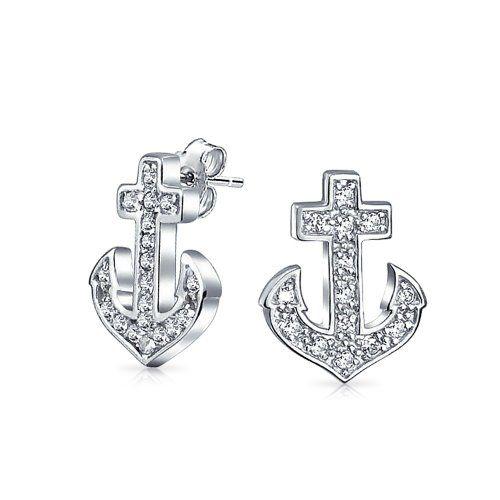 Bling Jewelry Argent Sterling boucles goujon Cubic Zirconia nautique d'ancrage