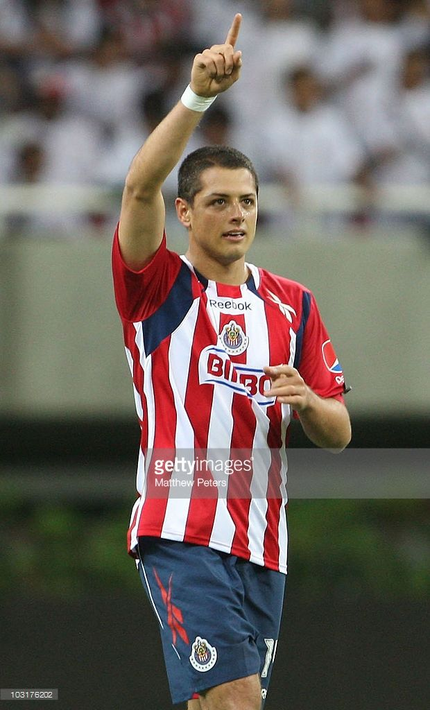 Javier 'Chicharito' Hernandez of Manchester United, playing for his old team of Chivas Guadalajara in the first half, celebrates scoring Chivas' first goal during the pre-season friendly match between Chivas Guadalajara and Manchester United at Chivas Stadium on July 30, 2010 in Guadalajara, Mexico.