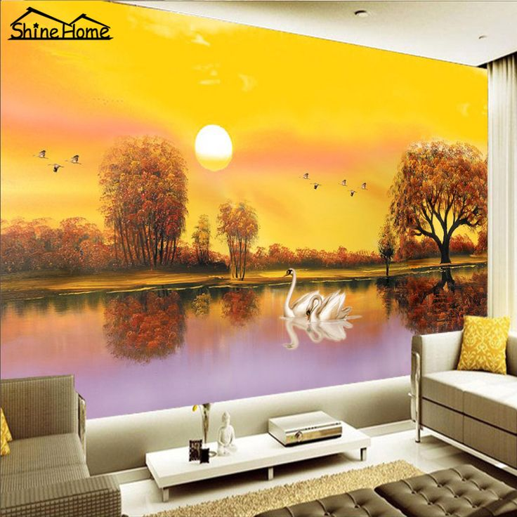 Good Romantic Swan Love In Sunset Lake 3D Wallpaper For Wall 3 D Flooring Photo