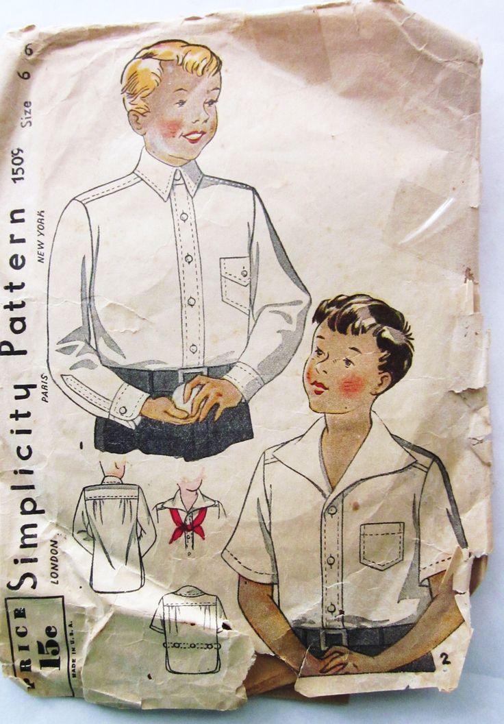 30s semplicità 1509 ragazzi pulsante frontale camicia taglia 6 seno 24 di SloCrafty su Etsy https://www.etsy.com/it/listing/77278465/30s-semplicita-1509-ragazzi-pulsante