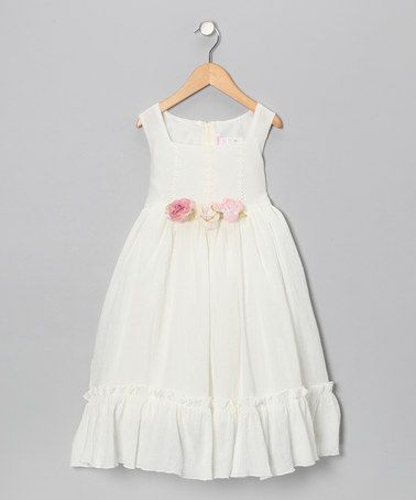 This Ivory & Pale Pink Flower Ruffle Dress - Infant, Toddler & Girls by Kid's Dream is perfect! #zulilyfinds