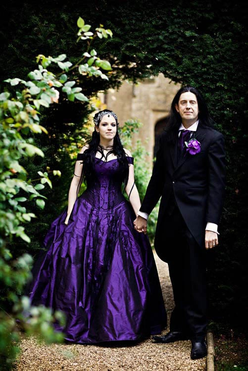 Victor tori s dramatic deep purple wedding wedding for Silver and purple wedding dresses