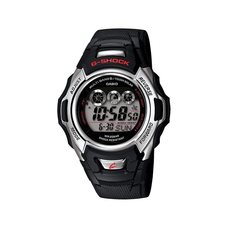 Men's Casio Solar and Atomic G-Shock Watch - Black (GWM500A-1), Black/Silver