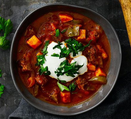 A healthy, hearty soup based on the traditional Hungarian stew, with low-fat lean beef, sweet potato and smoked paprika