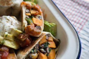 Spinach, Sweet Potato & Black Bean Burritos: Beans Burritos, Bean ...