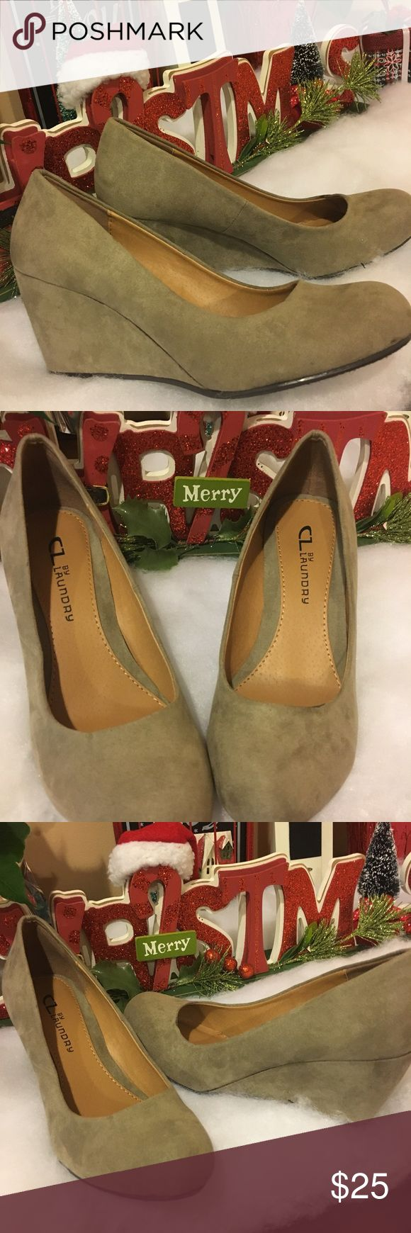 """Ladies wedge shoe in dark taupe... one day sale!!! Sleek, simple and nicely understated! The CL by Laundry Nima is the perfect wedge to pump up your look.Never worn but has a little smug on the top, hardly noticeable.  Faux suede upper Round toe 2¾"""" covered wedge heel Synthetic sole Imported cl by laundry Shoes Wedges"""