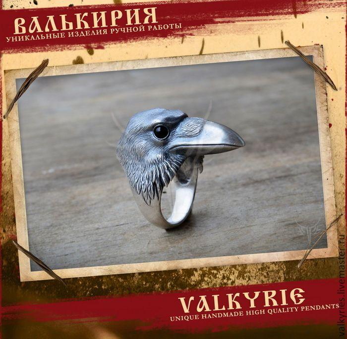 Купить Ворон кольцо - серебряный, ворон, хугин, мунин, Один, викинги, Языческий, птица
