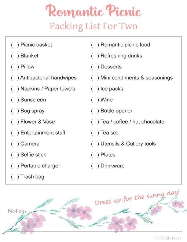 Romantic Picnic Packing List For Two   Romantic picnics ...