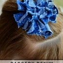 Raggedy Denim Hairbow Tutorial at u-createcrafts.com