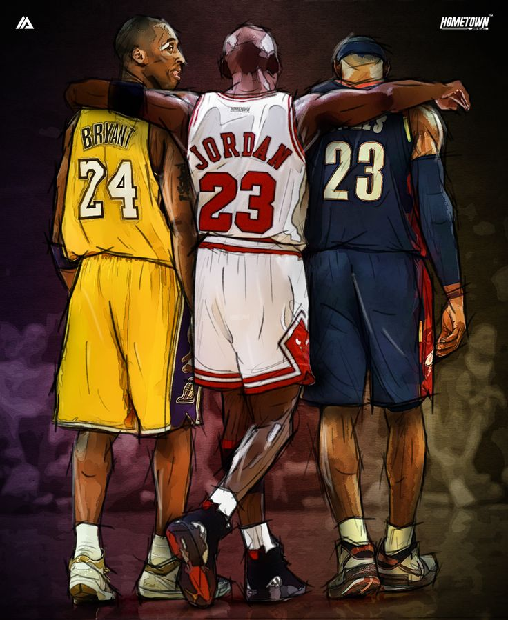 Kobe Bryant x Michael Jordan x LeBron James Illustration