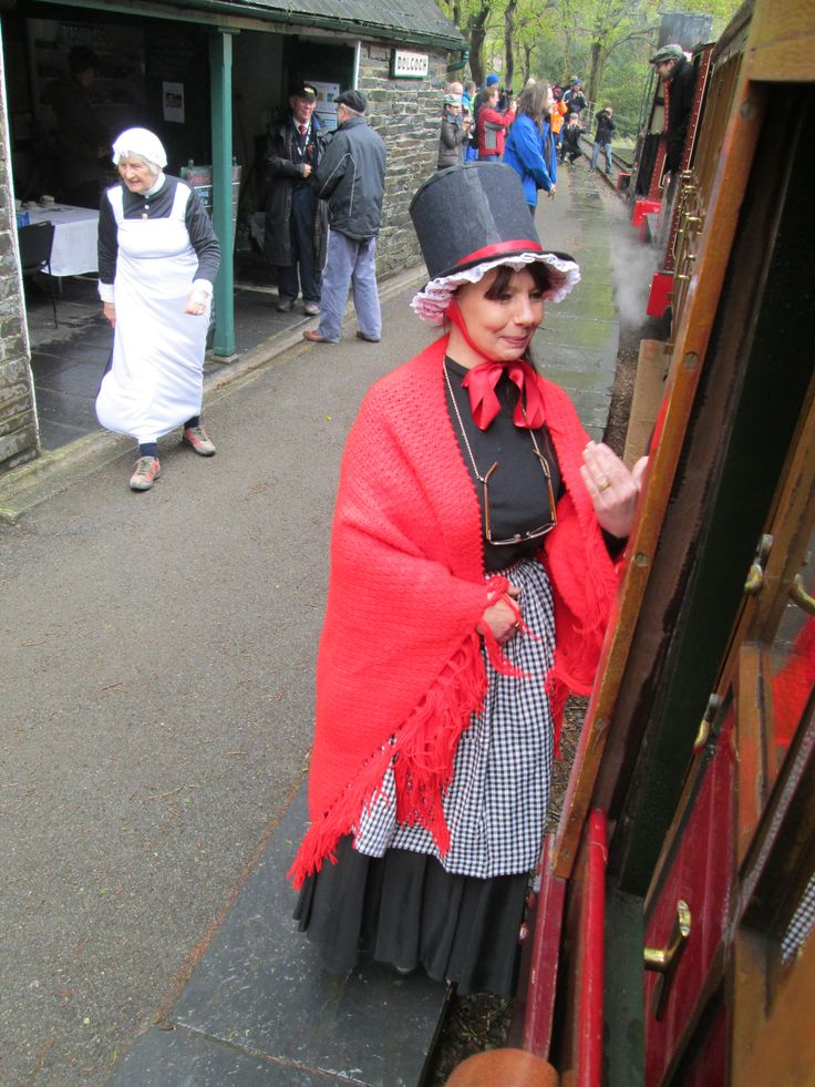 The Quarryman Experience May Bank Holiday 2015 - part of the 150th Talyllyn Railway Galas. A Welsh lady on Dolgoch station.