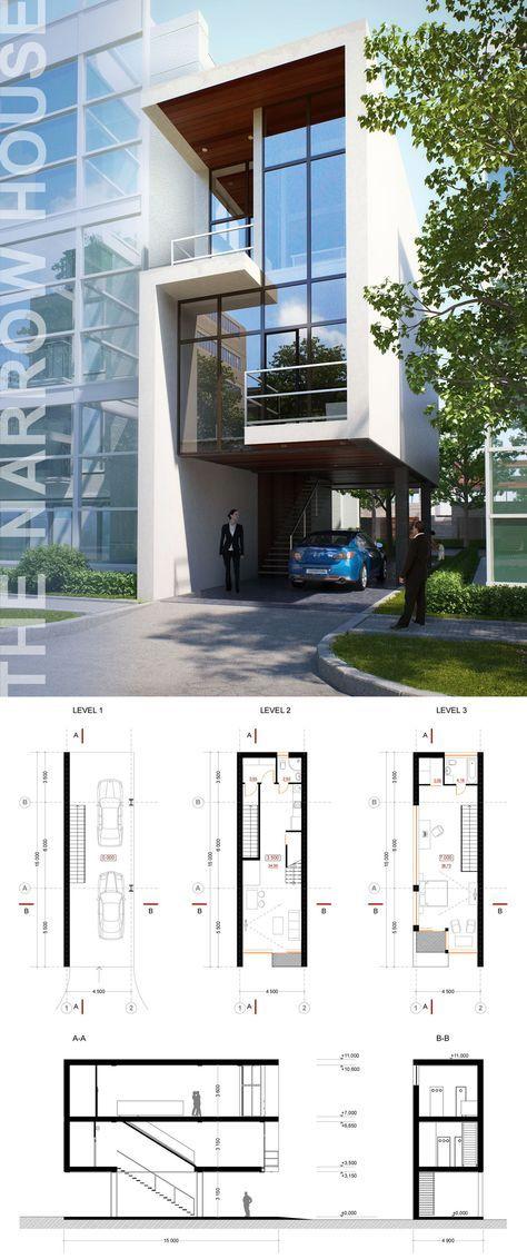 Oltre 25 fantastiche idee su casa stretta su pinterest for Piani casa moderna collina