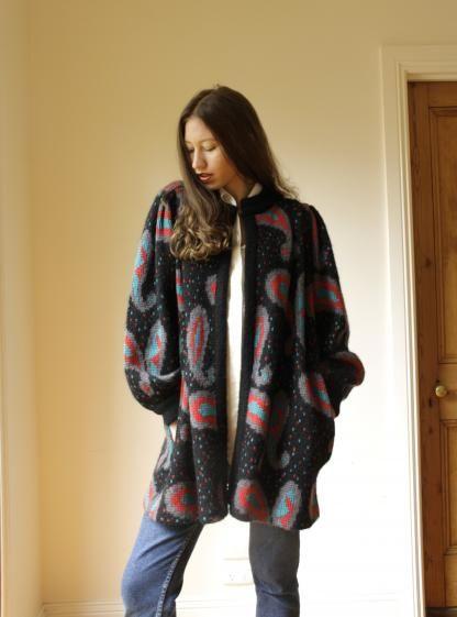 Round She Goes - Market Place - Black paisley vintage knit cardigan