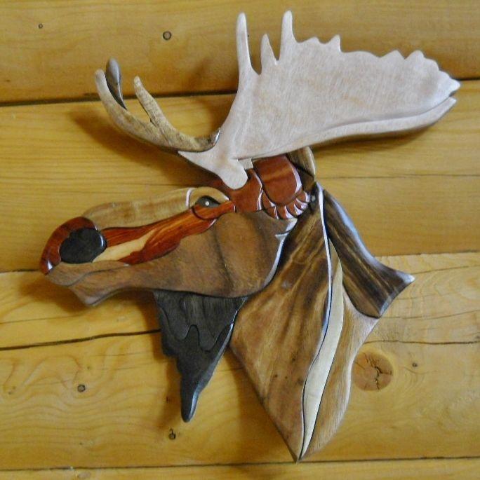 Moose Head Intarsia Wood Art
