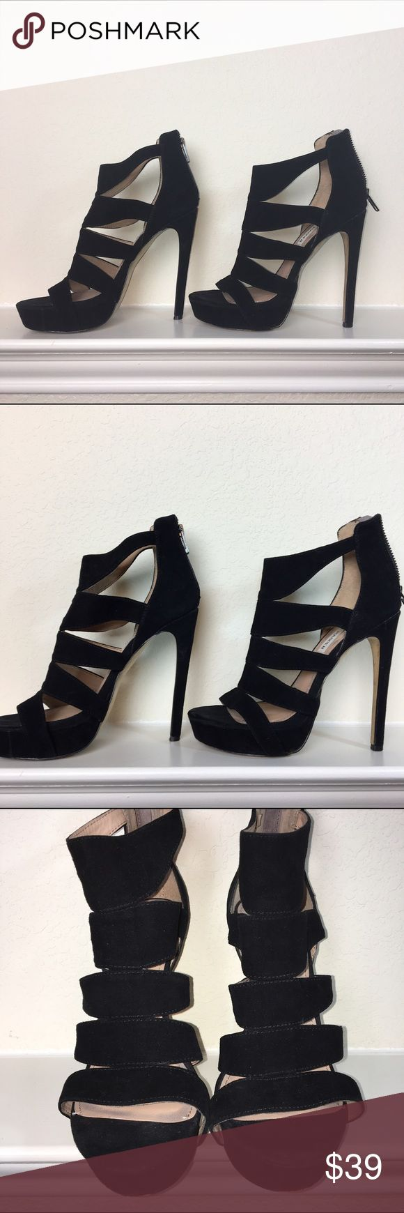 """💋 Steve Madden Black Suede High Heels💋 Beautiful Suede heels! A little over 5"""" heel height with a platform Some small signs of wear but in great condition. ~See last Photos~ Steve Madden Shoes Heels"""