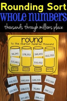 Rounding Sort! Great game for rounding whole numbers to any place (from thousands through millions). Includes 12 different versions! 4.NBT.A.3