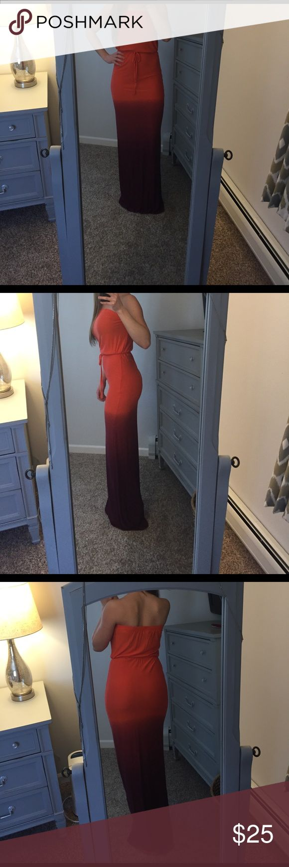 Long ombré salmon to maroon long dress NWOT Beautiful long ombré dress. Size Small, salmon/maroon. Old Navy Dresses Maxi