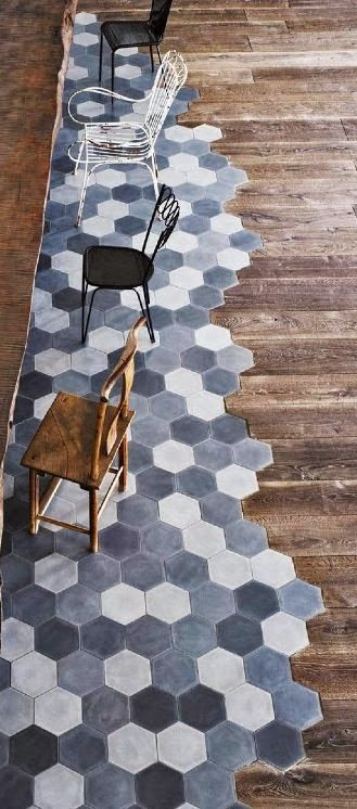 Old factory converted to industrial home in Spello by Paola Navone | Rue du chat-qui-peche | Hexagonal cement floor tiles