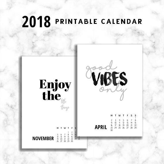 Quote Calendar 2018 Printable Calendar 2018 PDF