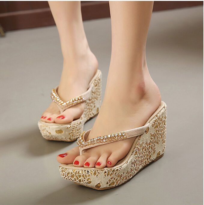 Hot Womens Rhinestone High Wedge Heel Flip-Flops Sandals Slippers Beach Shoes